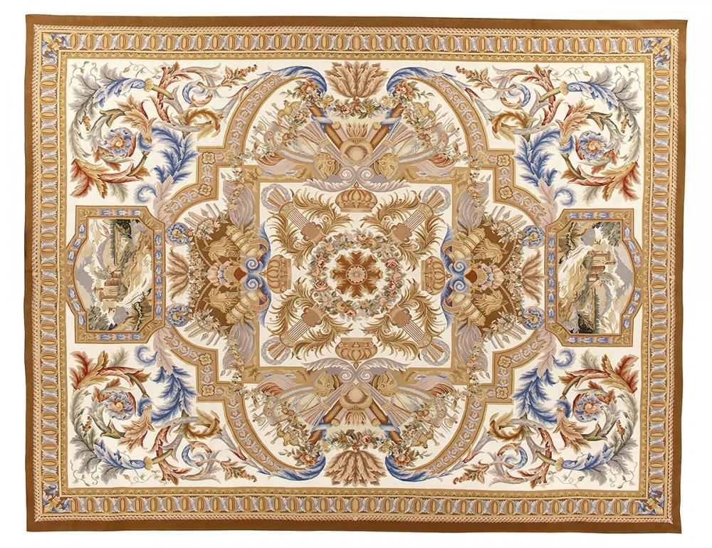 Гобелен Людовик XIV. Дизайн ковра мануфактуры Савонери.<br />2-ая половина 17 века. Современная копия. Ручная работа.<br />Состав шерсть. Размер : 366×465 см. (005440)