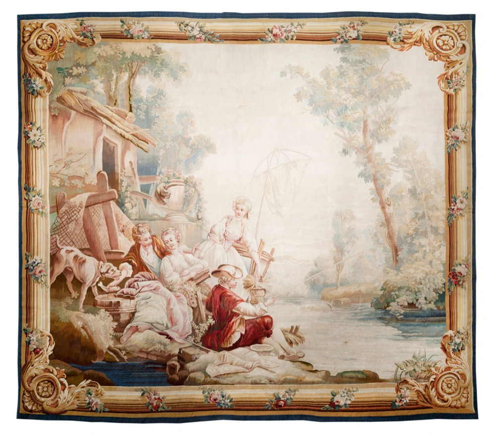 Рыбалка на берегу озера. Франция. 2-ая половина 18 века.<br />Состав шерсть, шелк. Размер : 223х246 см. (000165с)