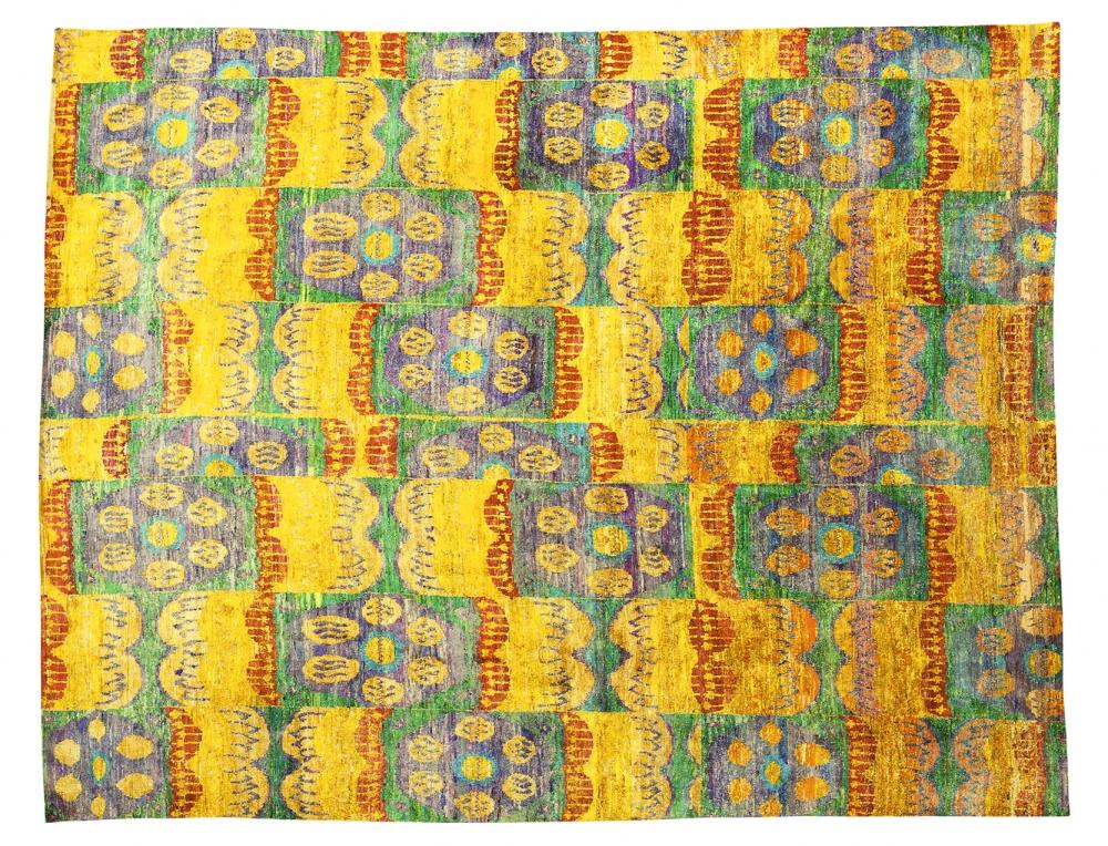 Икат №82. Дизайн Марк Патлис.<br />Ковер соткан в Джайпуре (Индия).<br />Шёлк Сари. Размер : 365х445 см. (006840)