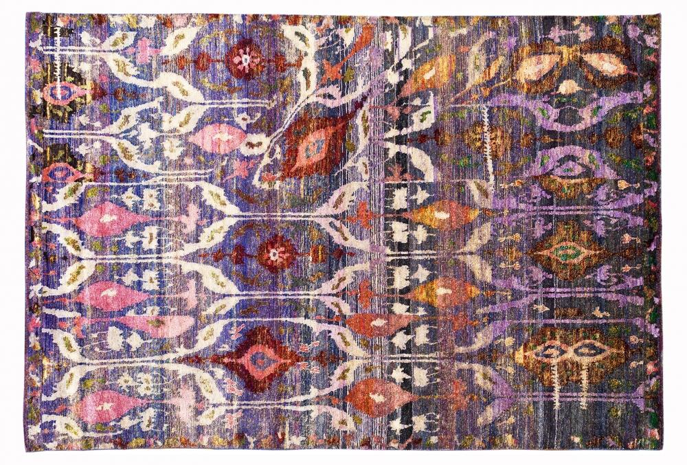 Икат №18. Дизайн Марк Патлис.<br />Ковер соткан в Джайпуре (Индия).<br />Шёлк Сари. Размер : 117х183 см. (006212)