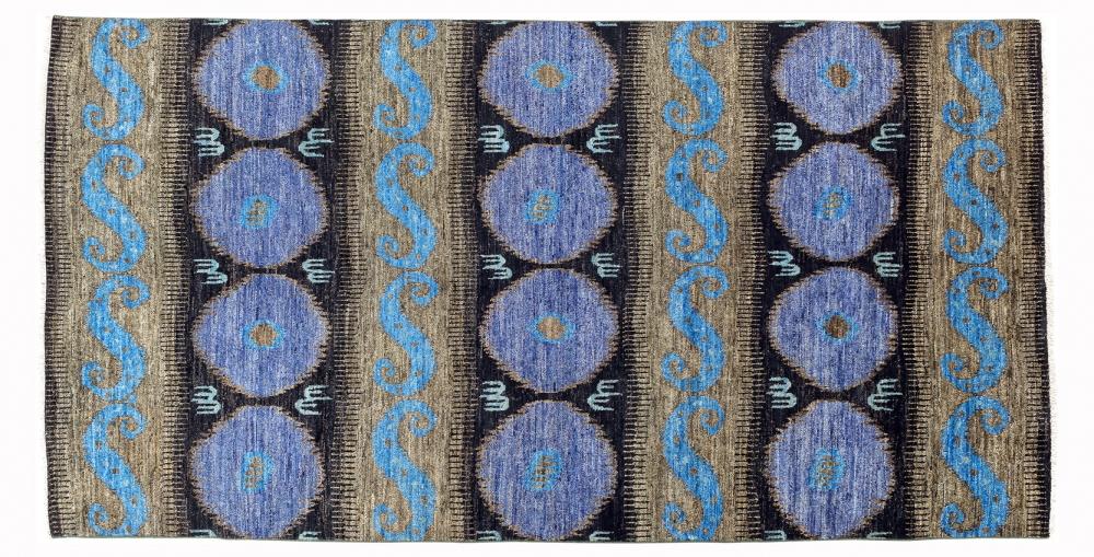 Афганский Икат. Дизайн 19 века. Ковер соткан в Индии.<br />Состав шерсть. Размер : 188×363 см. (006022)
