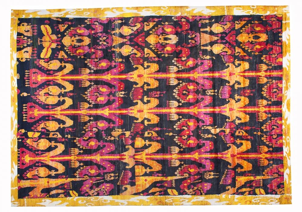Икат №63. Дизайн Марк Патлис.<br />Ковер соткан в Джайпуре (Индия).<br />Шёлк Сари. Размер : 265х368 см. (004783)
