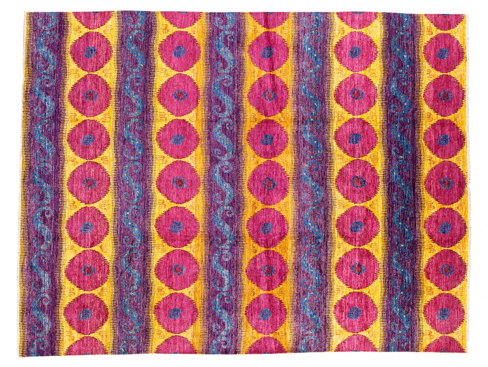 Афганский Икат. Дизайн 19 века.<br />Ковер соткан в Индии. Состав шерсть.<br />Размер : 363×465 см. (006074)