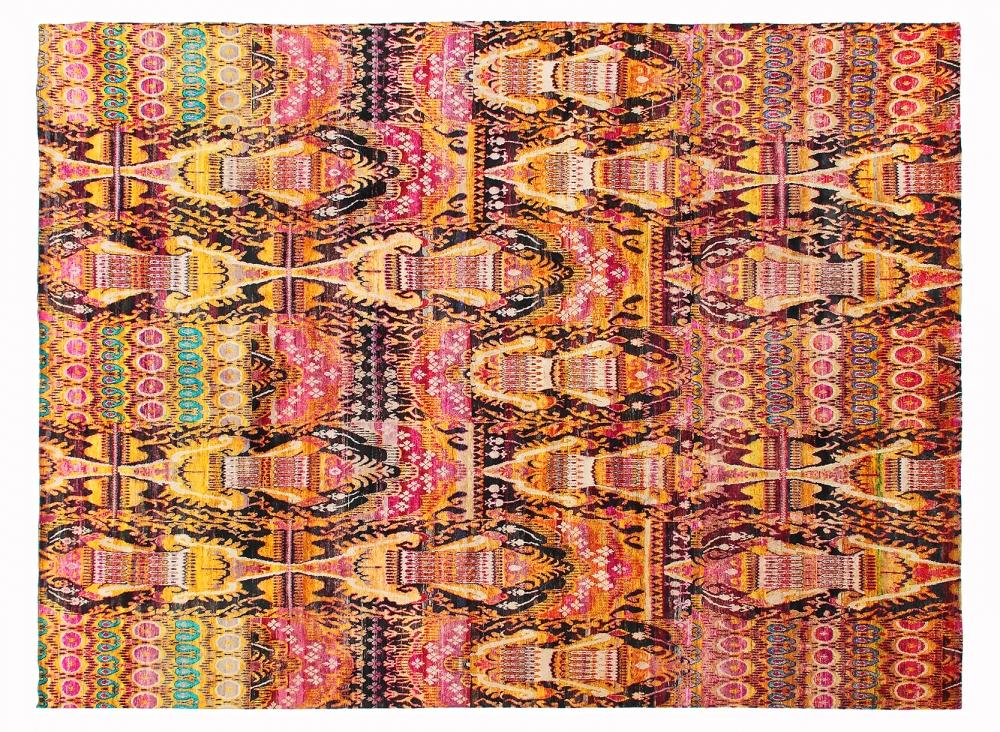 Икат №3. Дизайн Марк Патлис.<br />Ковер соткан в Джайпуре (Индия).<br />Шёлк Сари. Размер : 482х620 см. (005080)