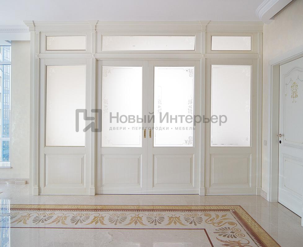 Нестандартная конструкция под стекло с раздвижными дверями, межкомнатные двери Art Studia, модель Letizia.