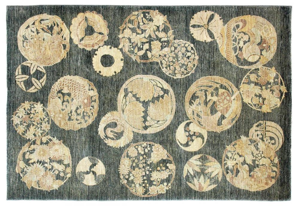 Кимоно. Франко-японский текстильный дизайн 1930-х годов.<br />Ковер соткан в Пакистане. Состав шерсть.<br />Размер : 188х258 см. (004202)
