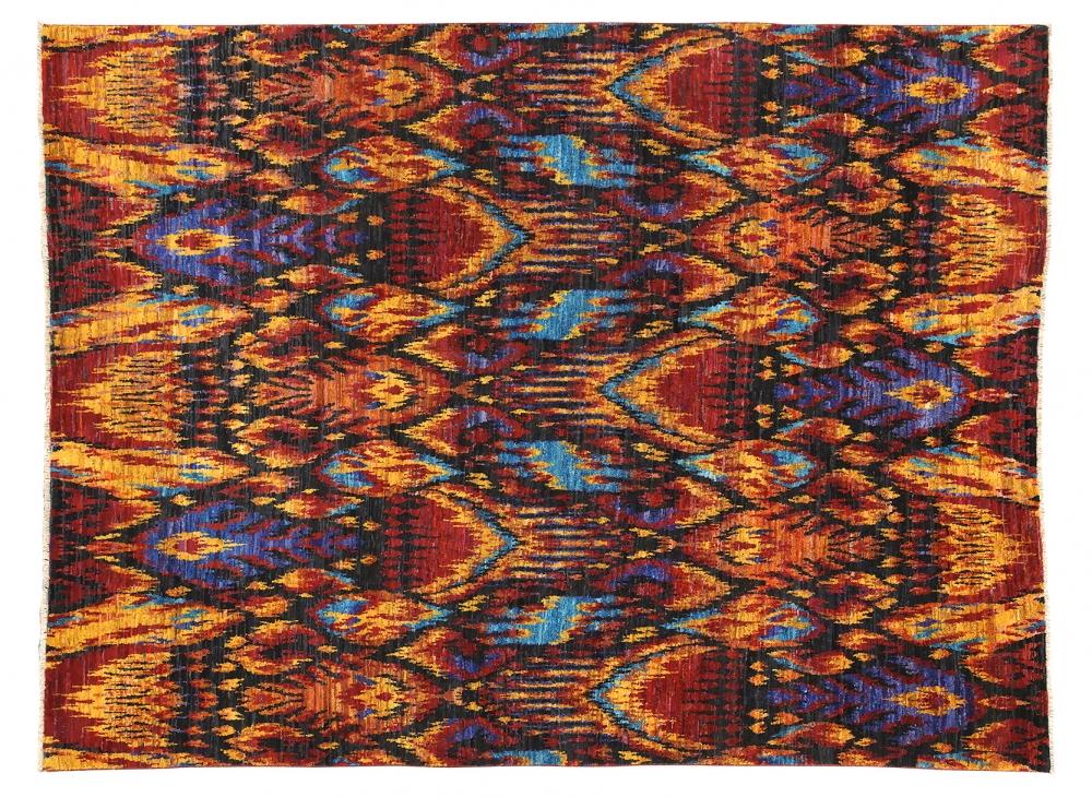 Икат №11. Дизайн 19 века.<br />Ковер соткан в Джайпуре (Индия).<br />Шёлк Сари. Размер : 246×326 см. (006537)