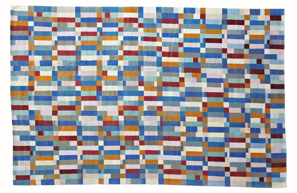 Ковер из коллекции Баухауз. Текстильный дизайн.<br />Автор Gunta Stölzl. 1923 г. Германия. Состав шерсть.<br />Ковер соткан в Непале. Размер : 367×557 см. (006792)