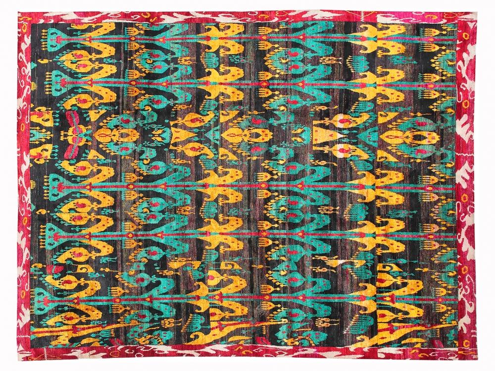 Икат №2. Дизайн Марк Патлис.<br />Ковер соткан в Джайпуре (Индия).<br />Шёлк Сари. Размер : 337х444 см. (005085)