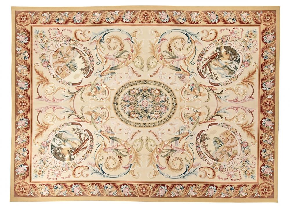 """Гобелен """"Обюссон"""". Франция. Дизайн 2-ая половина 18 века. Современная копия. Ручная работа. Состав шерсть.<br />Размер : 273×372 см. (005058)"""