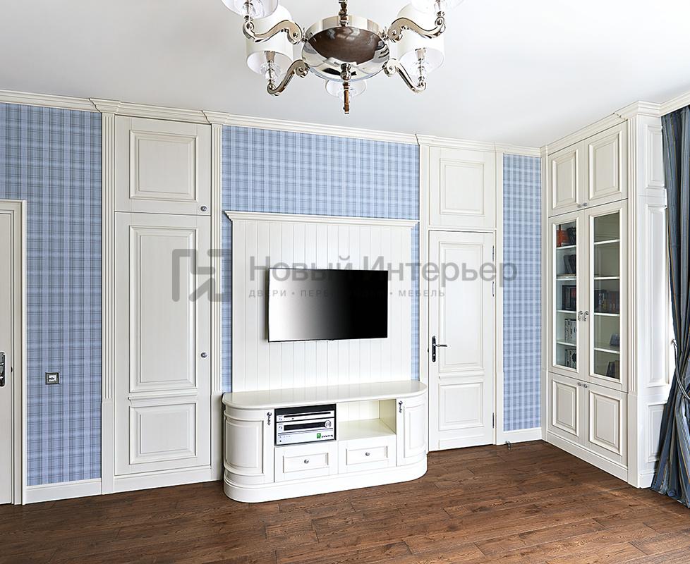 TV-зона встроенные двери, межкомнатная дверь с глухой фрамугой, книжный шкаф коллекция Art Studia