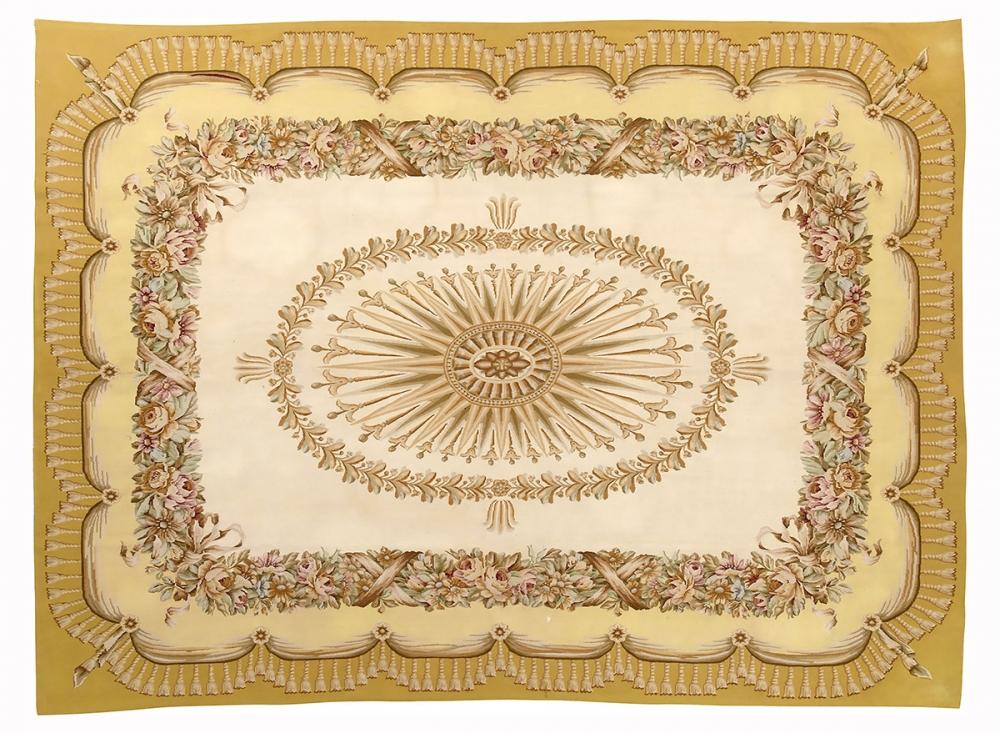 """Гобелен """"Обюссон"""". Франция. Дизайн начало 19 века.<br />Современная копия. Ручная работа. Состав шерсть.<br />Размер : 256×347 см. (005051)"""