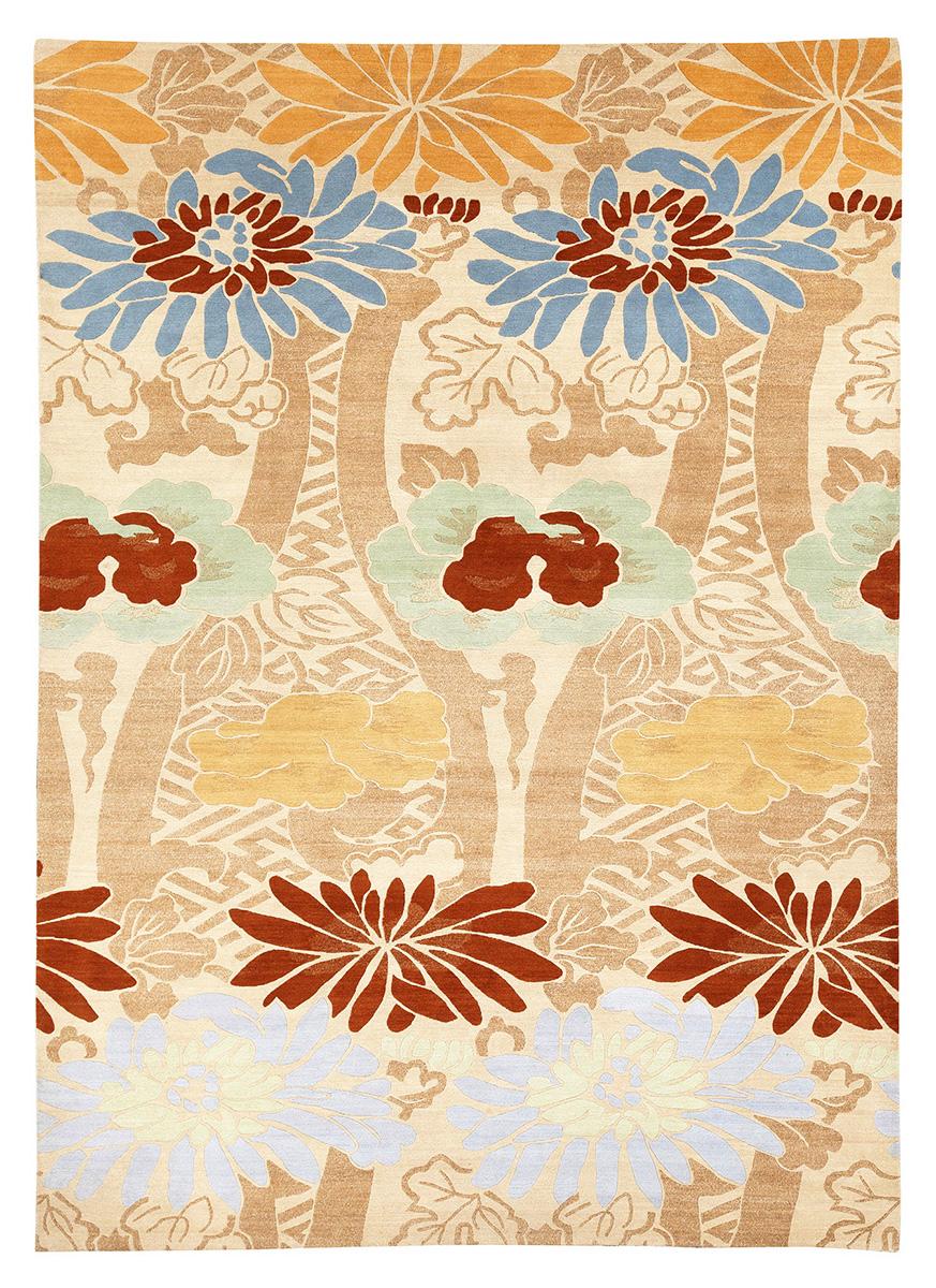 Стилизованный цветочный мотив. Автор Emile-Alain SEGUY. 1913 г. Лион, Франция. Реплика. Ковер соткан в Непале.<br />Состав шерсть. Размер : 249×344 см. (006527)