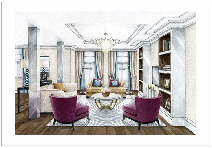 """Эскиз выполнен вручную в технике акварельной заливки для дизайн студии """"AK Interiors"""", 2015 г."""