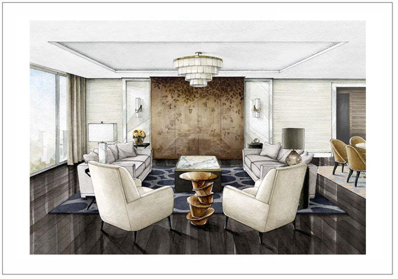 """Эскиз выполнен вручную в технике акварельной заливки для дизайн студии """"AK Interiors"""", 2014 г."""