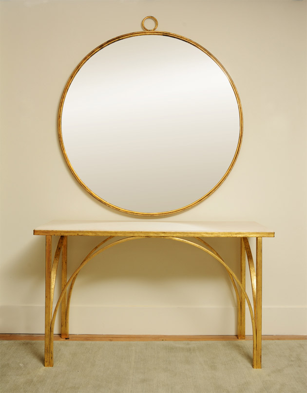 The Large Tiber Table, is a console design named after arched bridges spanning the Tiber River in Rome.  Soane's highly skilled blacksmith in the Forest of Dean creates the semi-circular elements by hand beating iron bars around large circular jigs.  These are precisely sized and welded to the iron legs and beaten edged table top.